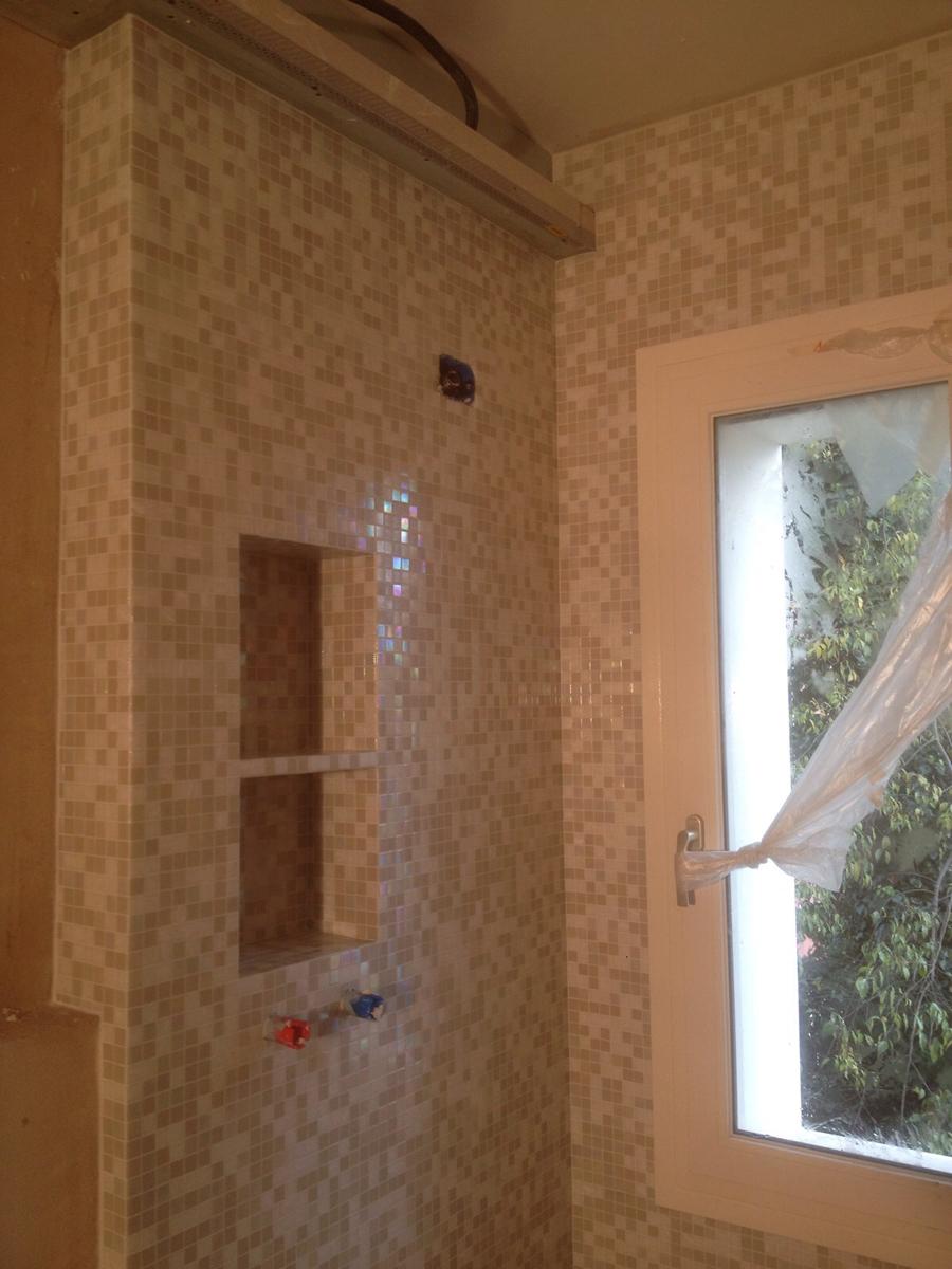 Mosaico doccia affordable texture legno brown mosaico in - Mosaici per doccia ...